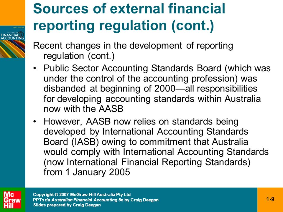 Sources of external financial reporting regulation (cont.)