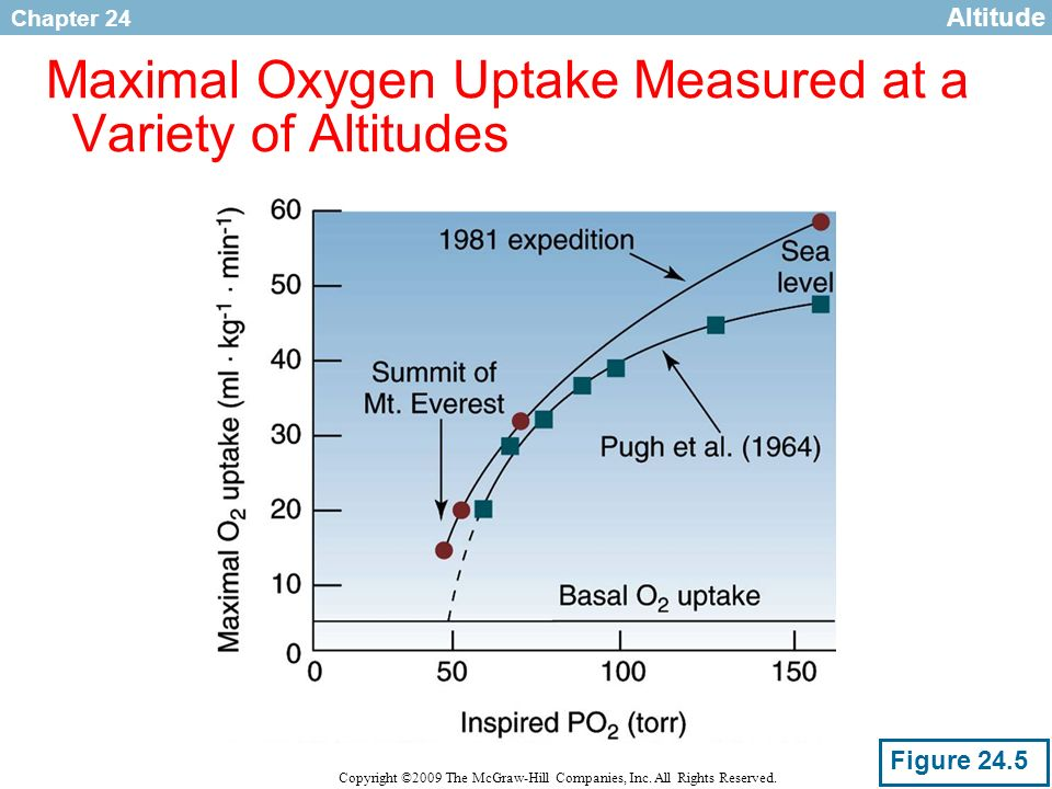 Maximal Oxygen Uptake Measured at a Variety of Altitudes