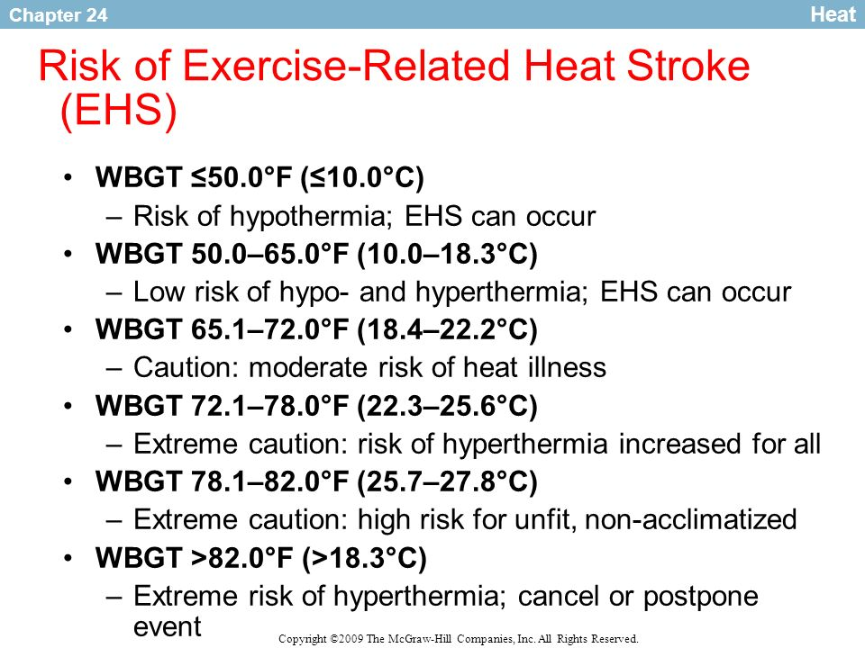 Risk of Exercise-Related Heat Stroke (EHS)
