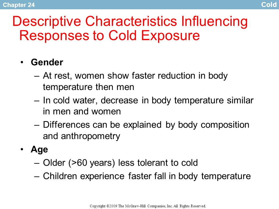 Descriptive Characteristics Influencing Responses to Cold Exposure