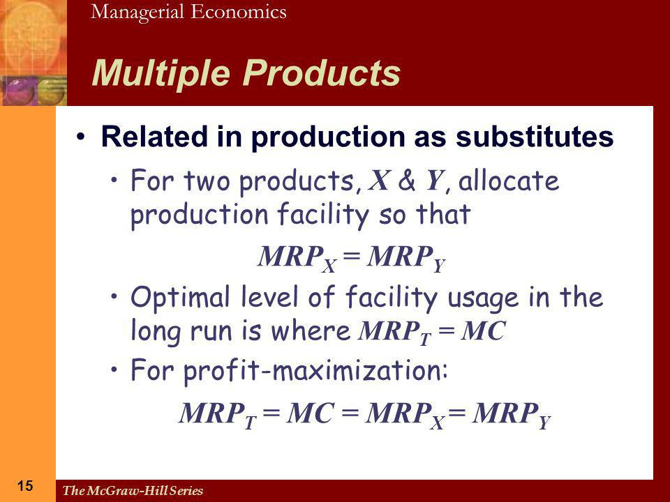 Multiple Products Related in production as substitutes MRPX = MRPY