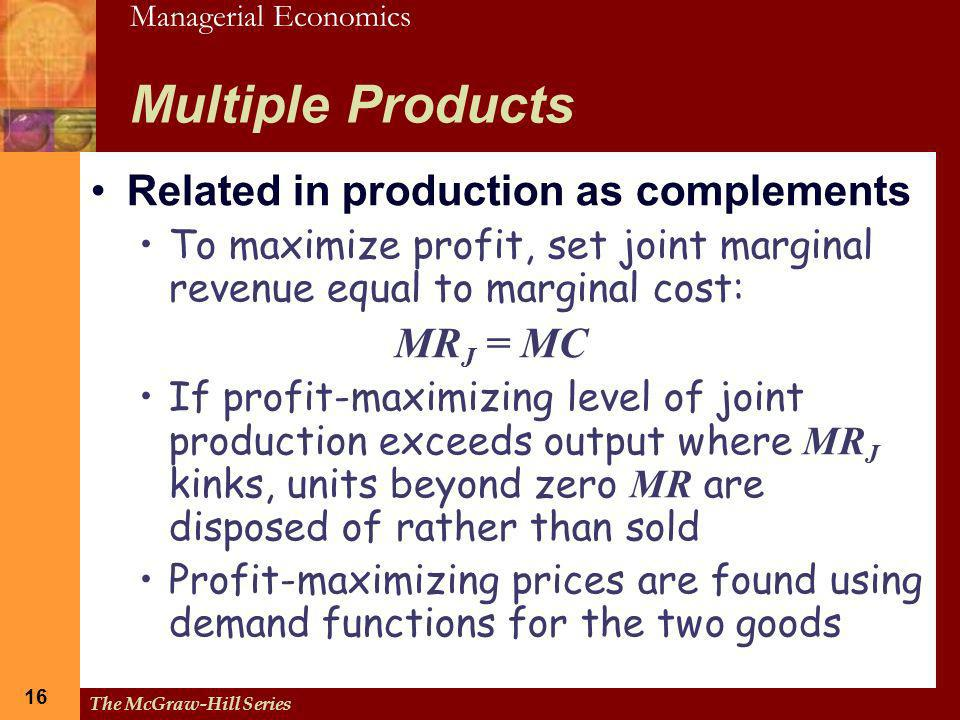 Multiple Products Related in production as complements MRJ = MC