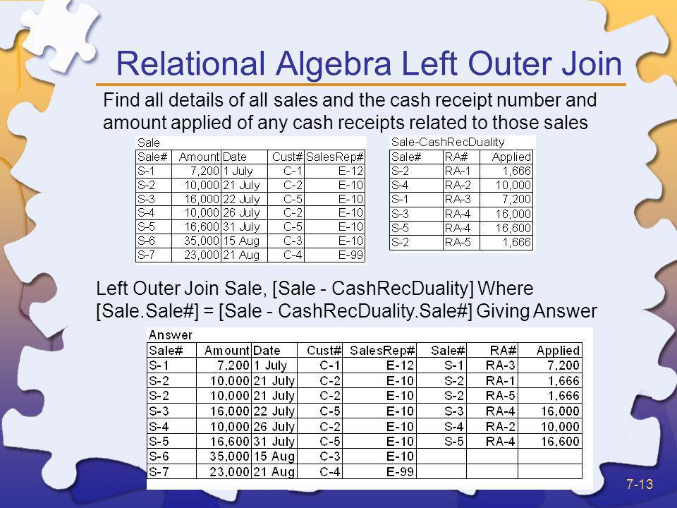 Relational Algebra Left Outer Join