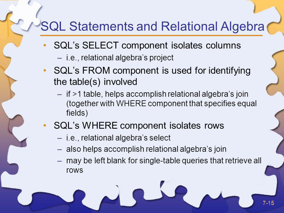 SQL Statements and Relational Algebra