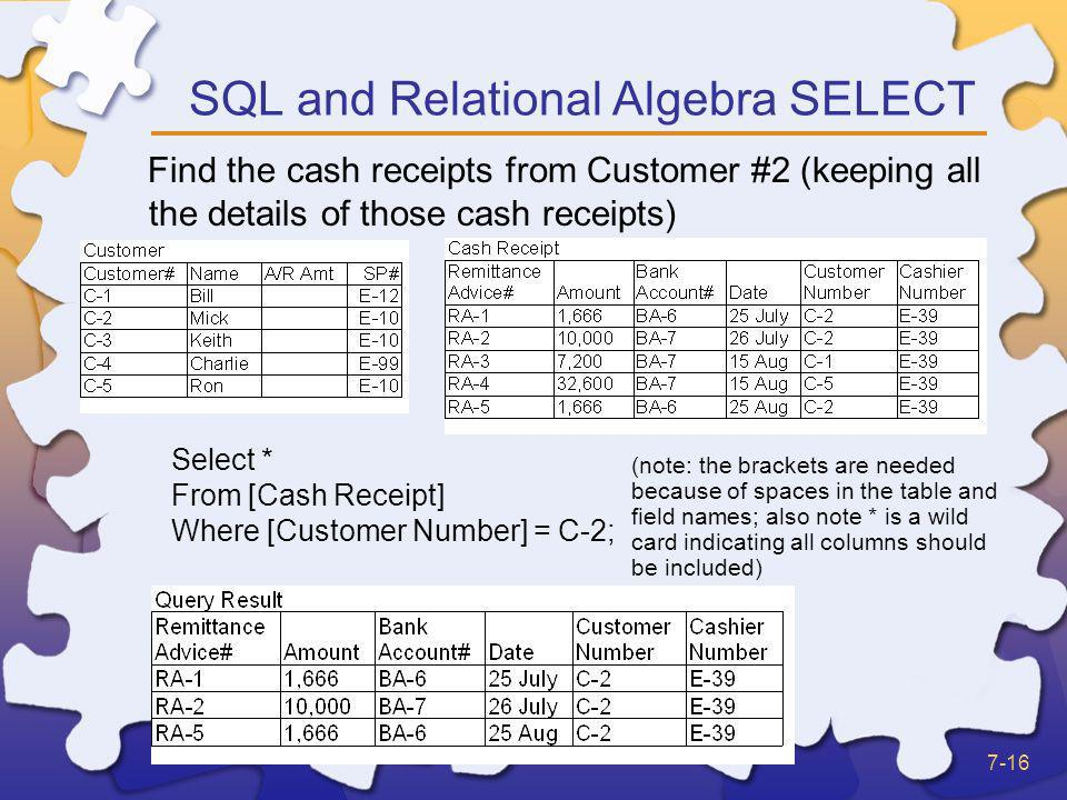 SQL and Relational Algebra SELECT