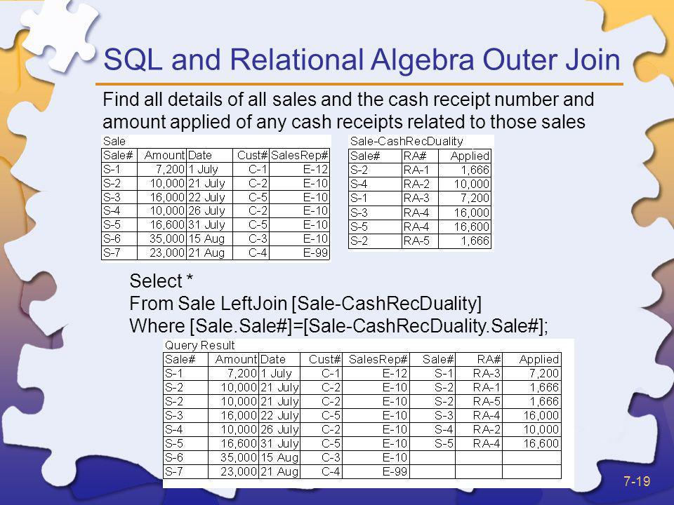 SQL and Relational Algebra Outer Join