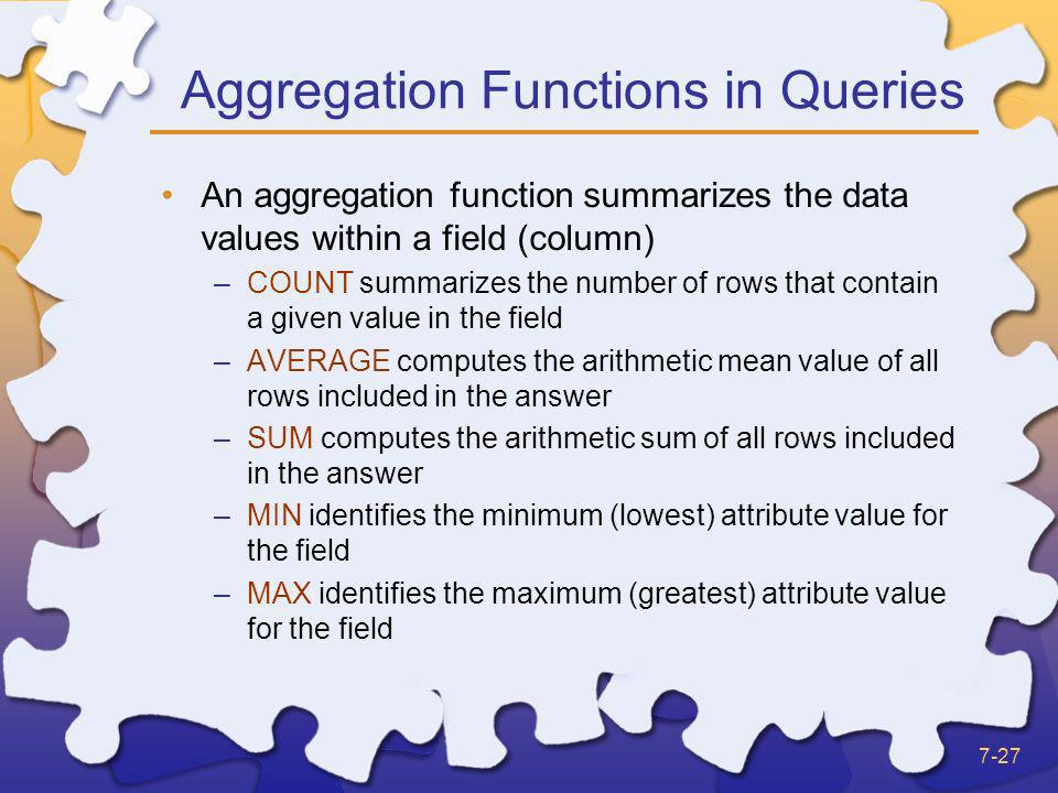 Aggregation Functions in Queries