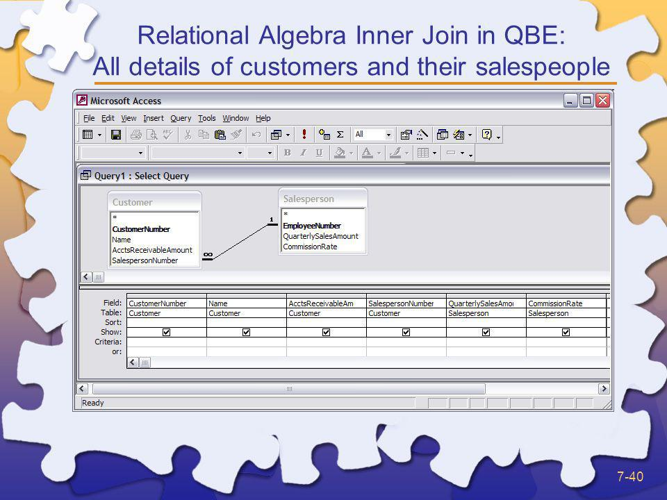 Relational Algebra Inner Join in QBE: All details of customers and their salespeople