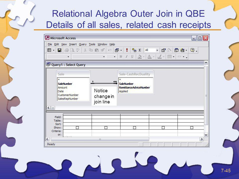 Relational Algebra Outer Join in QBE Details of all sales, related cash receipts