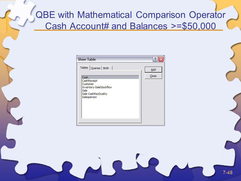 QBE with Mathematical Comparison Operator Cash Account# and Balances >=$50,000