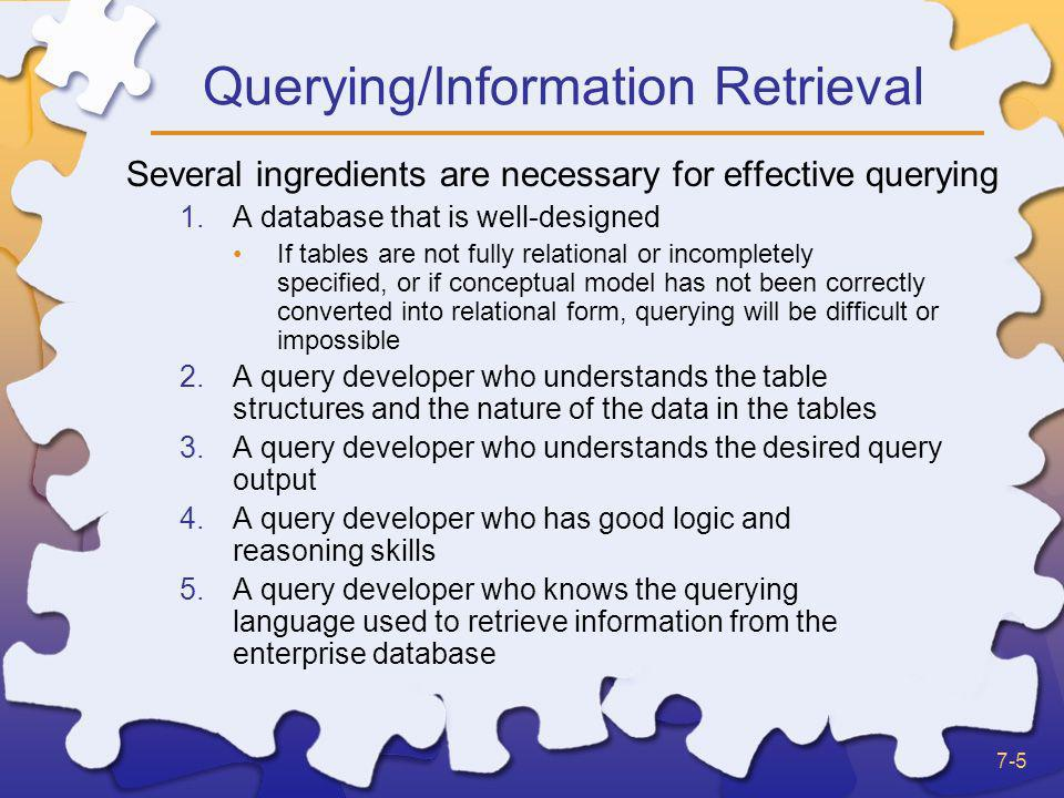 Querying/Information Retrieval