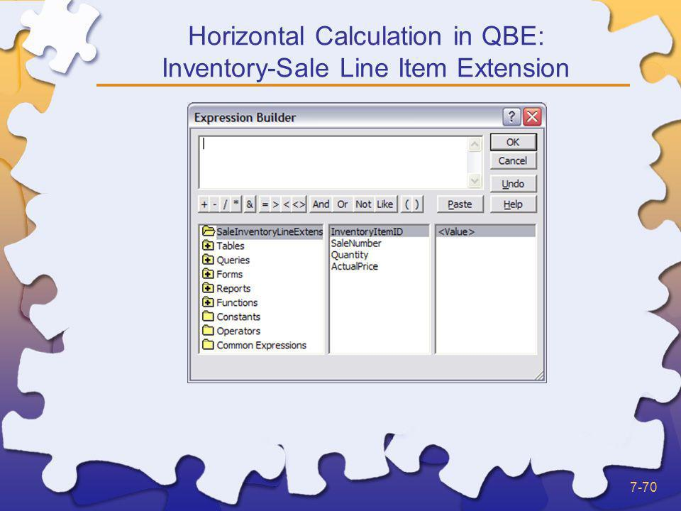 Horizontal Calculation in QBE: Inventory-Sale Line Item Extension