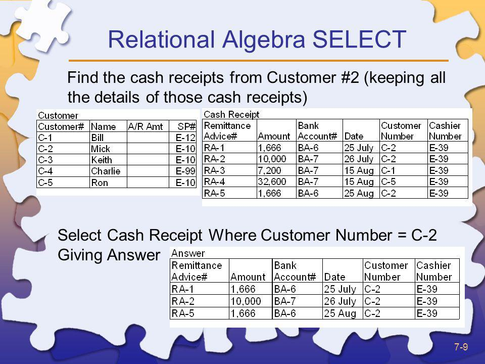 Relational Algebra SELECT