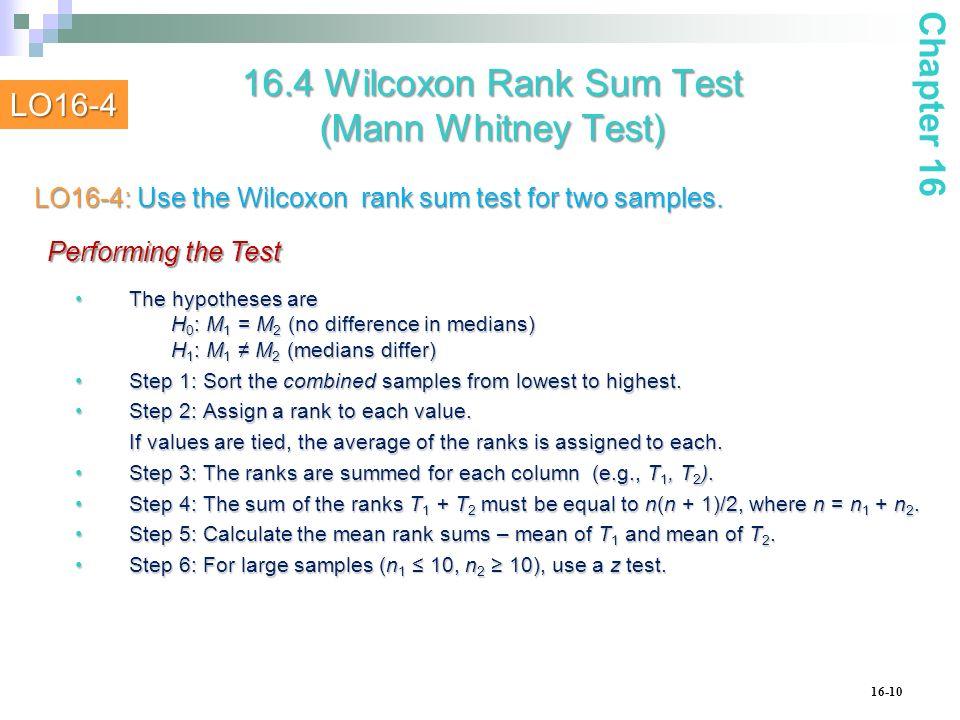 16.4 Wilcoxon Rank Sum Test (Mann Whitney Test)