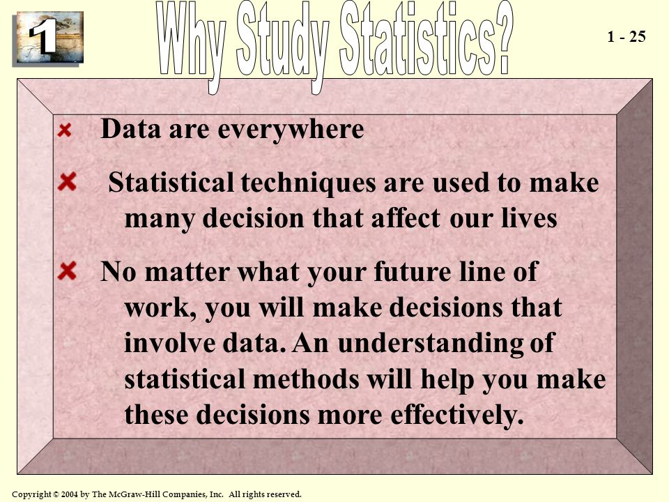 Why Study Statistics Data are everywhere. Statistical techniques are used to make many decision that affect our lives.