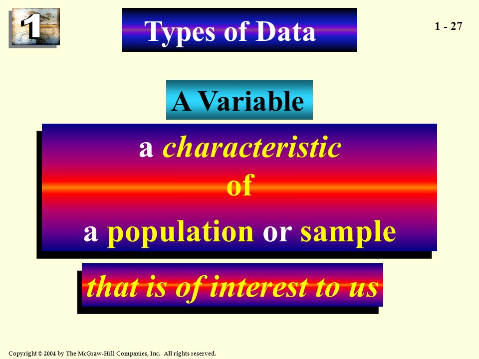 a characteristic of a population or sample