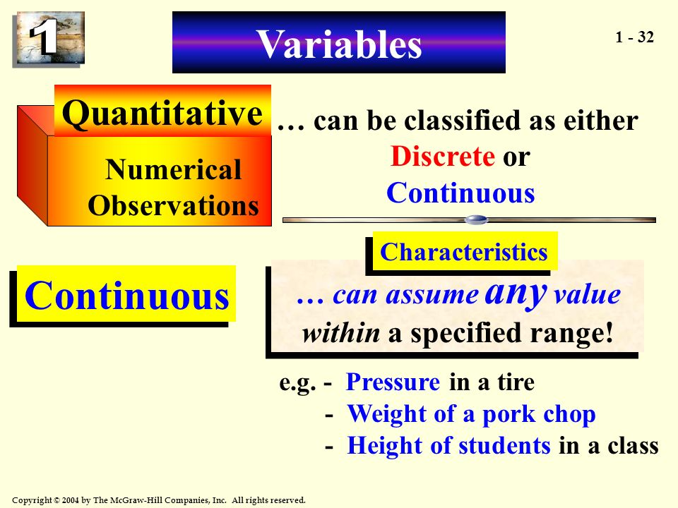 Variables Continuous Quantitative … can be classified as either