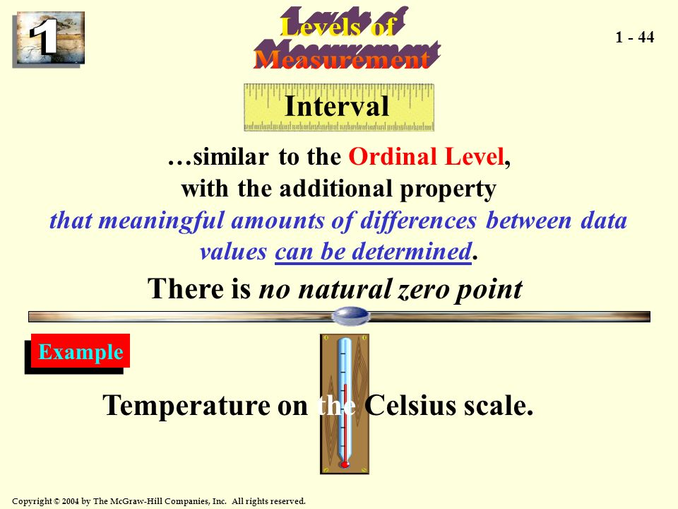 Levels of Measurement Interval There is no natural zero point