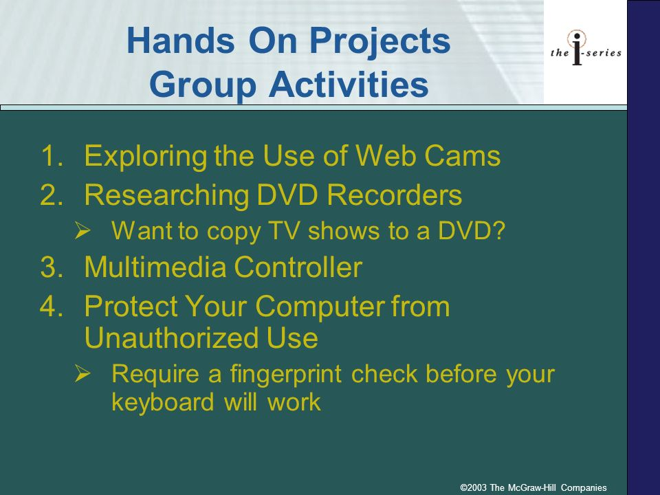 Hands On Projects Group Activities