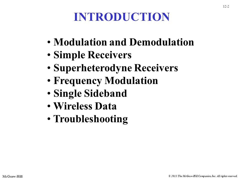 INTRODUCTION Modulation and Demodulation Simple Receivers