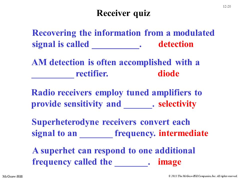 Receiver quiz Recovering the information from a modulated. signal is called __________. detection.