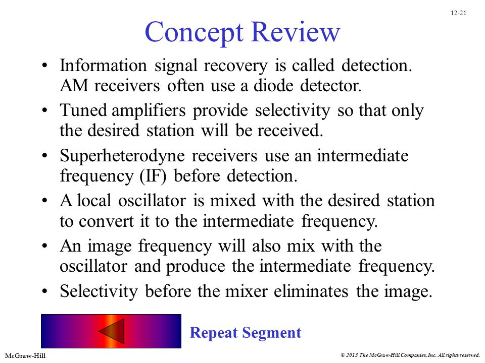 Concept Review Information signal recovery is called detection. AM receivers often use a diode detector.