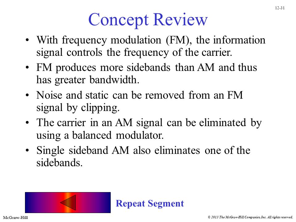 Concept Review With frequency modulation (FM), the information signal controls the frequency of the carrier.