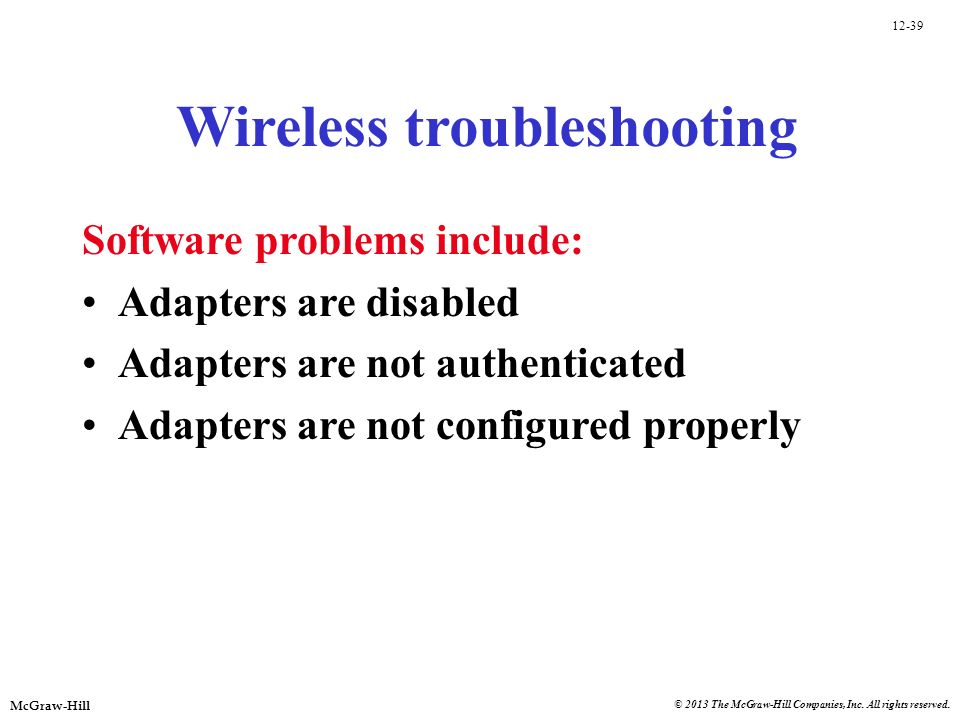 Wireless troubleshooting