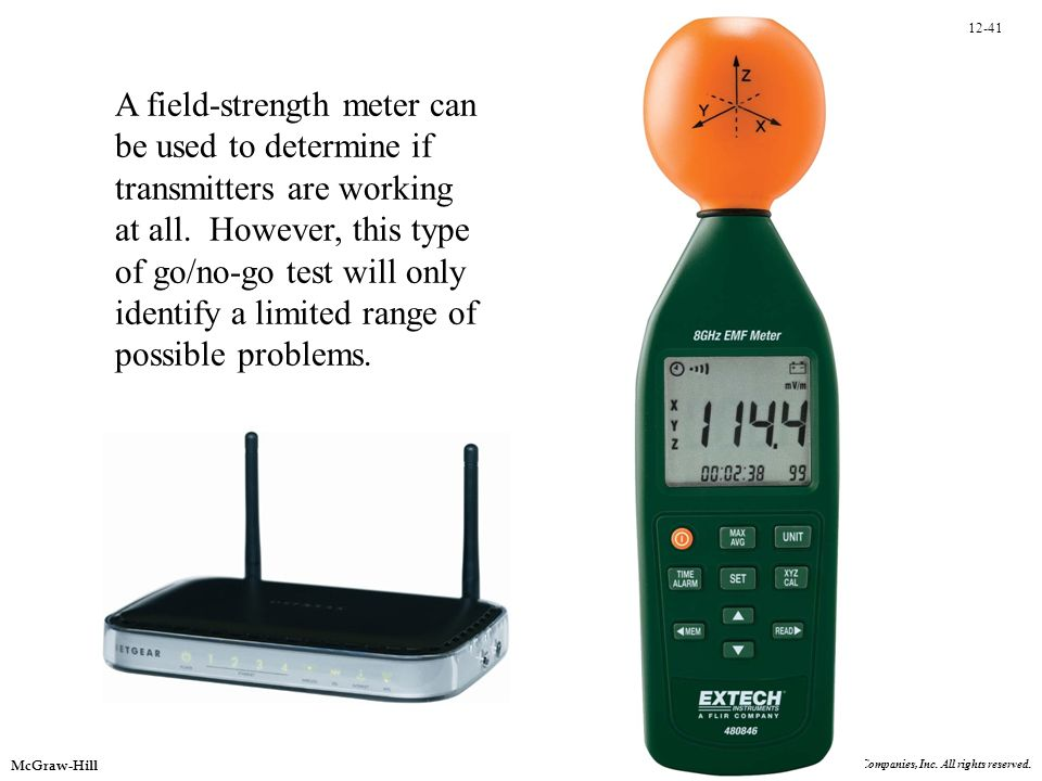 A field-strength meter can be used to determine if transmitters are working at all. However, this type of go/no-go test will only identify a limited range of possible problems.