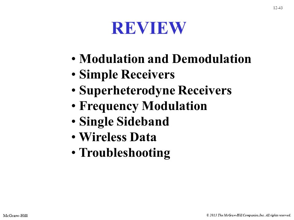 REVIEW Modulation and Demodulation Simple Receivers