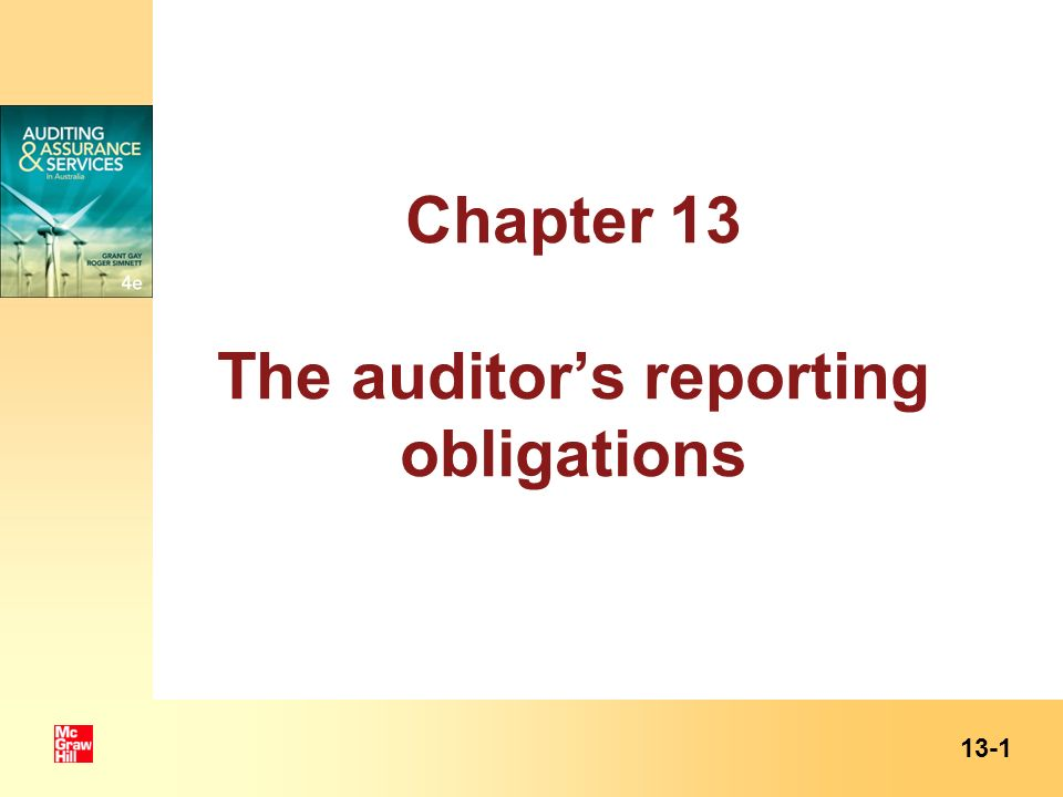 Chapter 13 The auditor's reporting obligations