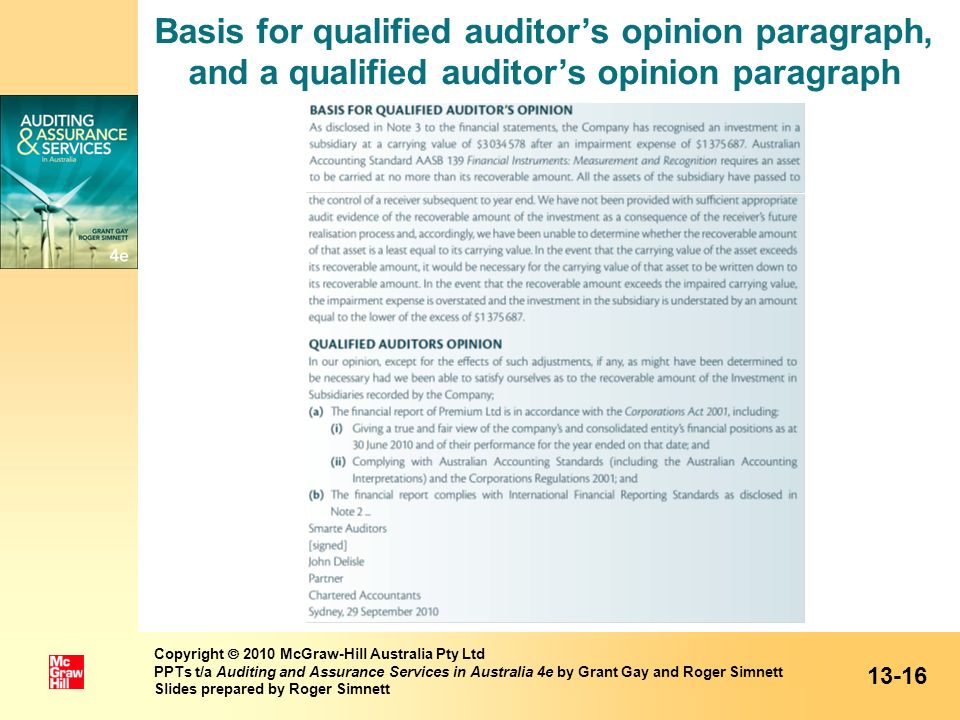 Basis for qualified auditor's opinion paragraph, and a qualified auditor's opinion paragraph