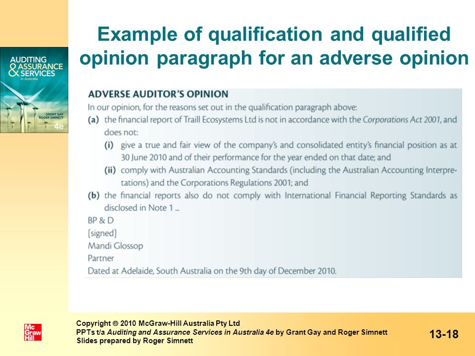 Example of qualification and qualified opinion paragraph for an adverse opinion