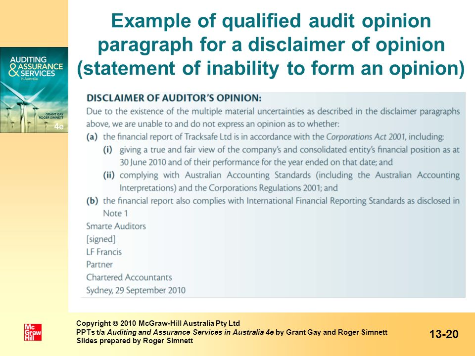 Example of qualified audit opinion paragraph for a disclaimer of opinion (statement of inability to form an opinion)