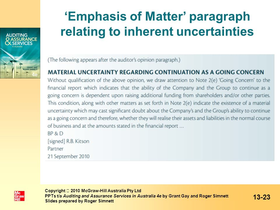 'Emphasis of Matter' paragraph relating to inherent uncertainties