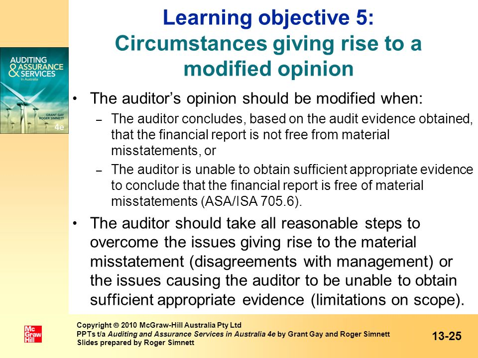 Learning objective 5: Circumstances giving rise to a modified opinion