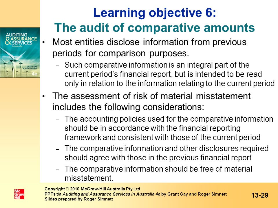 Learning objective 6: The audit of comparative amounts