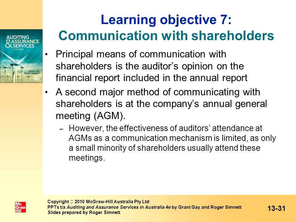 Learning objective 7: Communication with shareholders