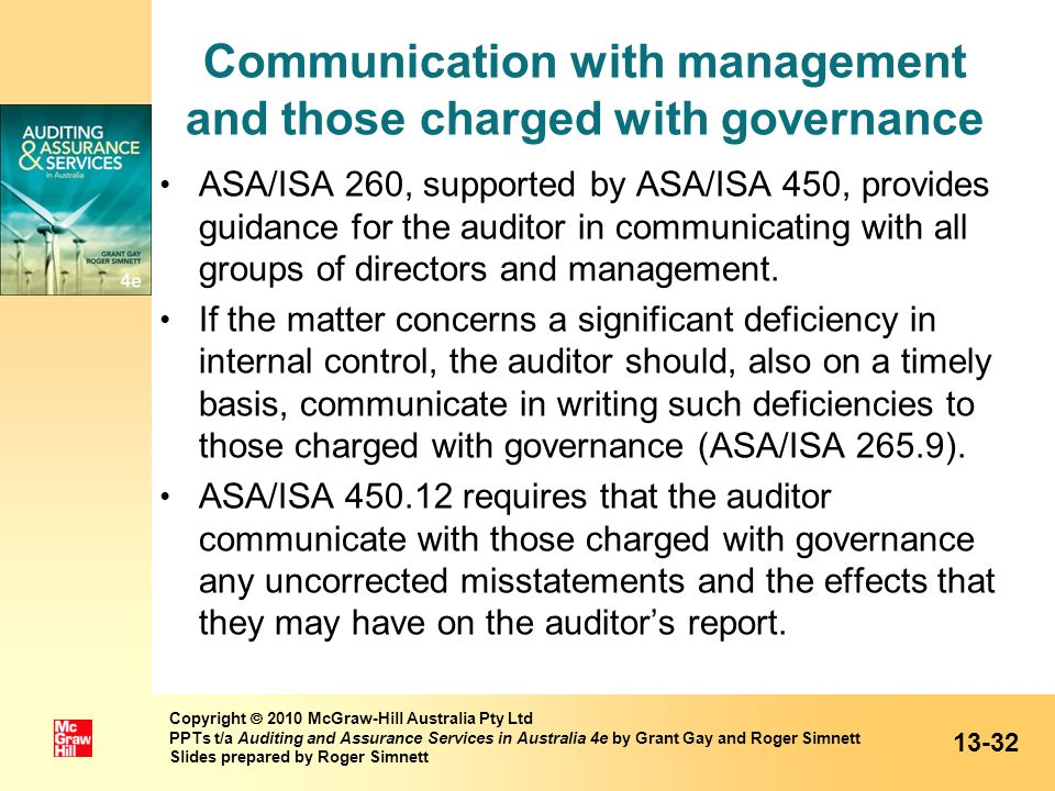 Communication with management and those charged with governance
