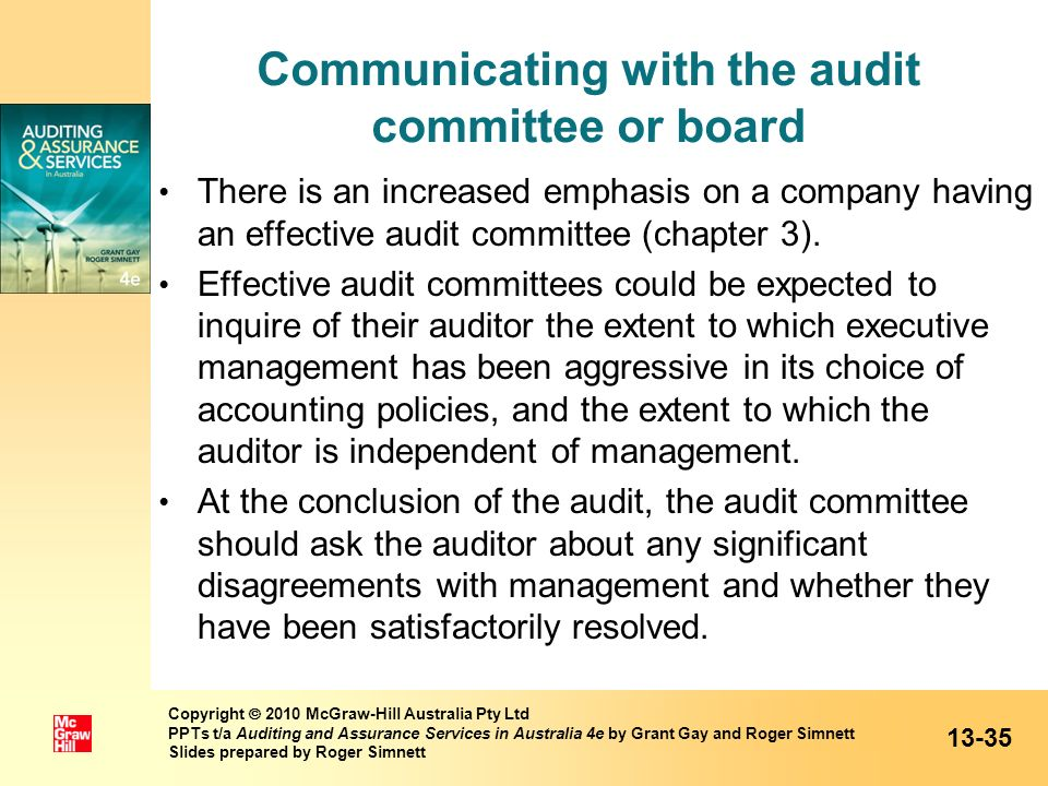 Communicating with the audit committee or board