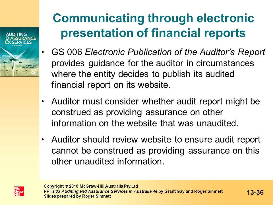 Communicating through electronic presentation of financial reports