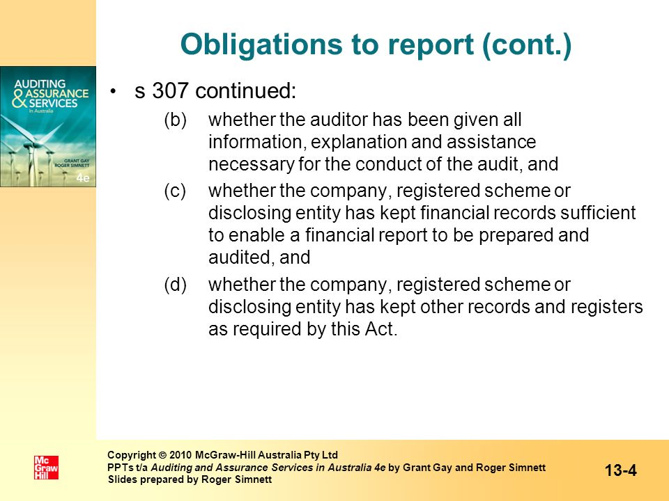 Obligations to report (cont.)