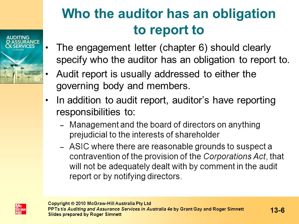 Who the auditor has an obligation to report to