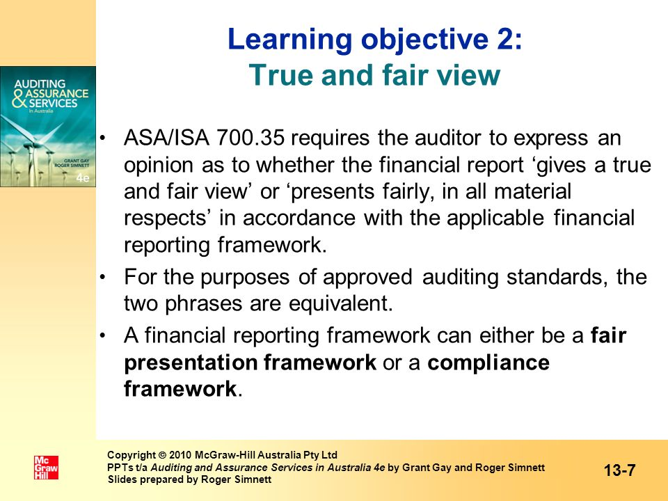 Learning objective 2: True and fair view
