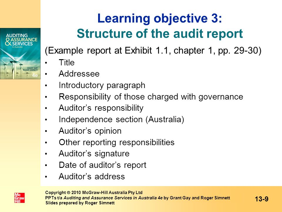 Learning objective 3: Structure of the audit report