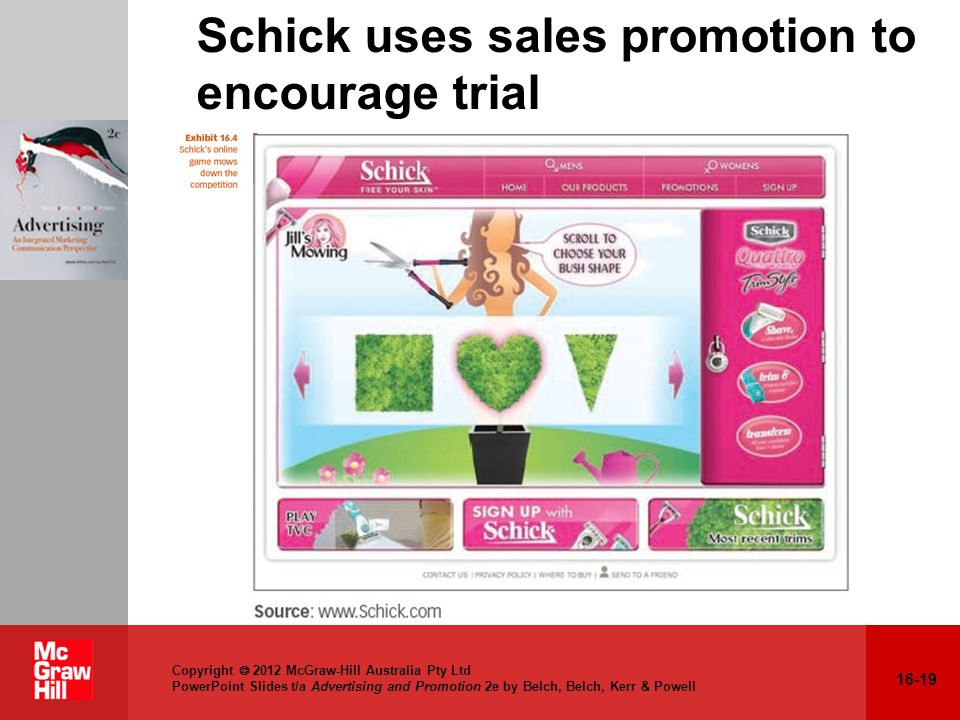 Schick uses sales promotion to encourage trial
