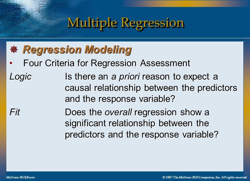 Multiple Regression Regression Modeling
