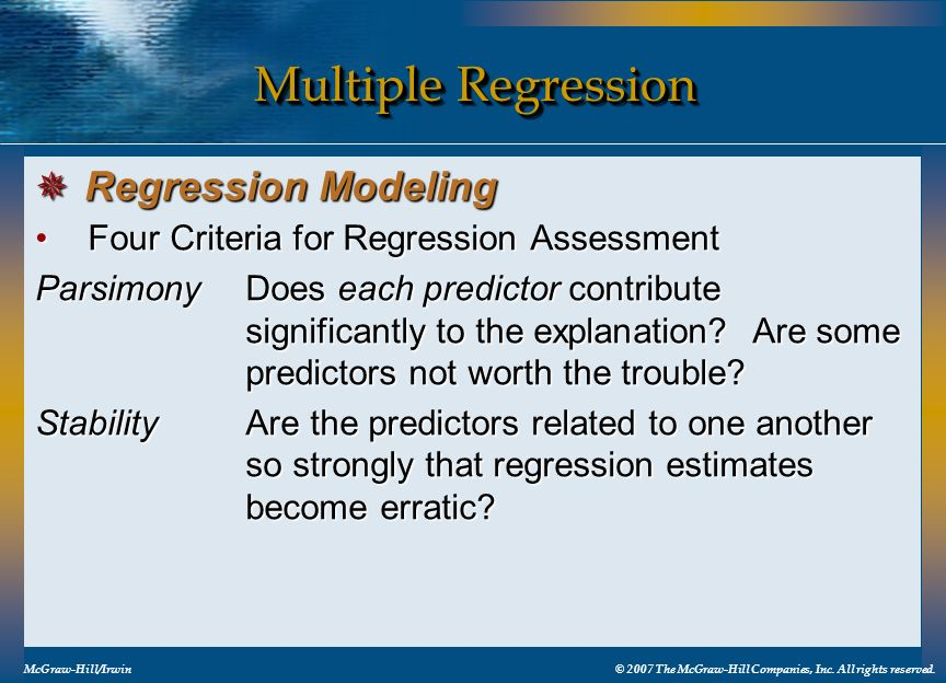 Multiple Regression Regression Modeling