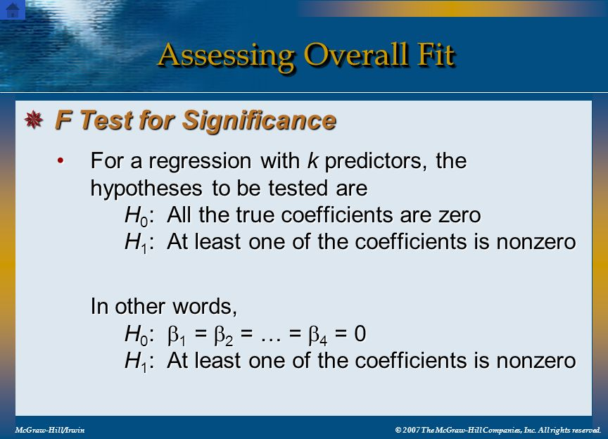 Assessing Overall Fit F Test for Significance
