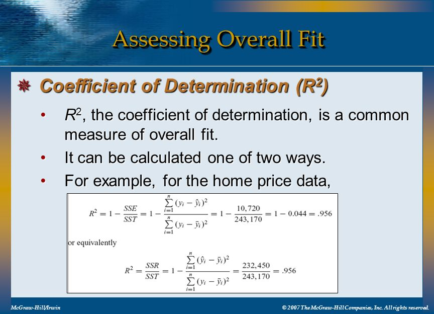 Assessing Overall Fit Coefficient of Determination (R2)